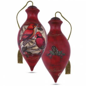 Crimson Cardinals Hand-Painted Glass Ornament