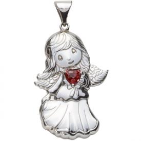 Sterling Silver Angel Birthstone Pendant – January