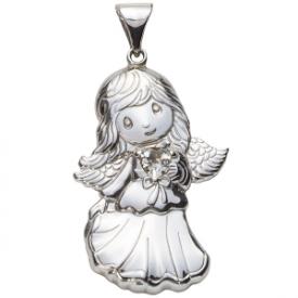 Sterling Silver Angel Birthstone Pendant – April