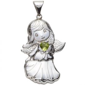Sterling Silver Angel Birthstone Pendant – August