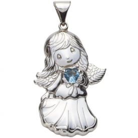Sterling Silver Angel Birthstone Pendant – December