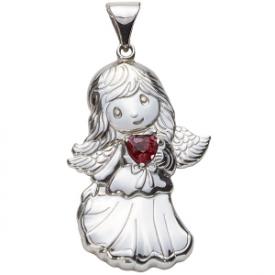 Sterling Silver Angel Birthstone Pendant – July