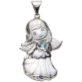 Sterling Silver Angel Birthstone Pendant – March
