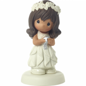 May His Light Shine In Your Heart Today And Always Bisque Porcelain Figurine, Girl, Brunette