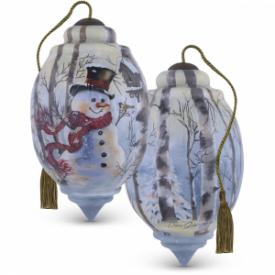 Birch Forest Snowman Trillion-Shaped Glass Ornament