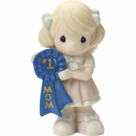 #1 Mom Bisque Porcelain Figurine, Girl