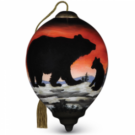 Bear Cub Silhouette Hand-Painted Glass Ornament