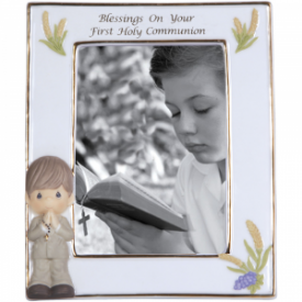 Blessings On Your First Holy Communion Bisque Porcelain Photo Frame, Boy