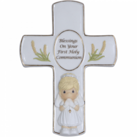 Blessings On Your First Holy Communion Cross With Stand, Girl