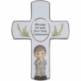 Blessings On Your First Holy Communion Bisque Porcelain Cross With Stand, Boy