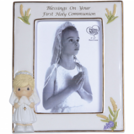 Blessings On Your First Holy Communion Bisque Porcelain Photo Frame, Girl