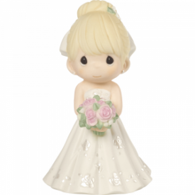 Mix and Match Wedding Cake Topper/Bride Figurine, Blonde Hair, Light Skin Tone, Porcelain