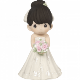 Mix and Match Wedding Cake Topper/Bride Figurine, Black Hair, Light Skin Tone