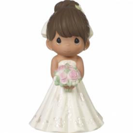 Mix and Match Wedding Cake Topper/Bride Figurine, Brown Hair, Medium Skin Tone