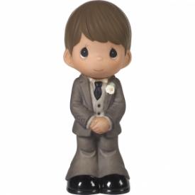 Mix and Match Wedding Cake Topper/Groom Figurine, Brown Hair, Medium Skin Tone