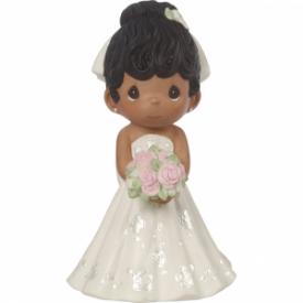 Mix and Match Wedding Cake Topper/Bride Figurine, Black Hair, Dark Skin Tone