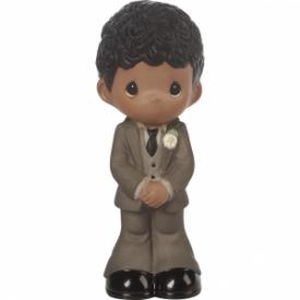 Mix and Match Wedding Cake Topper/Groom Figurine, Black Hair, Dark Skin Tone