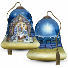 Away In A Manger Hand Painted, Glass Ornament