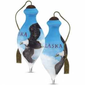 Alaska Eagle Hand-Painted Glass Ornament